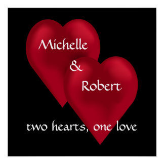 Two Hearts One Love Wedding Engagement Poster