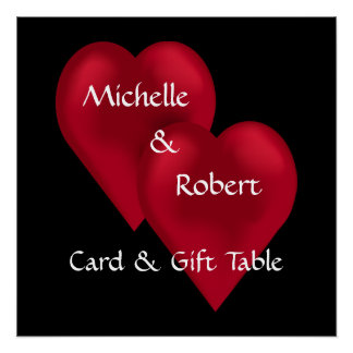 Two Hearts One Love Wedding Gift Table Poster