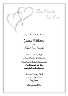 Two Hearts One Love Wedding Invitations