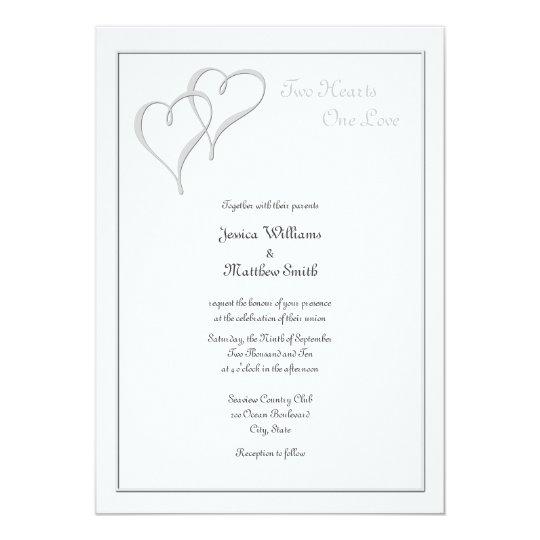 Two Hearts One Love Wedding Invitations Zazzlecom