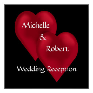 Two Hearts One Love Wedding Reception Poster