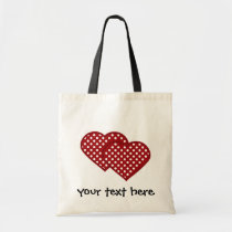 two hearts patchwork tote bag