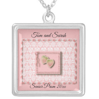 Two Hearts Pendant, Senior Prom Keepsake Silver Plated Necklace