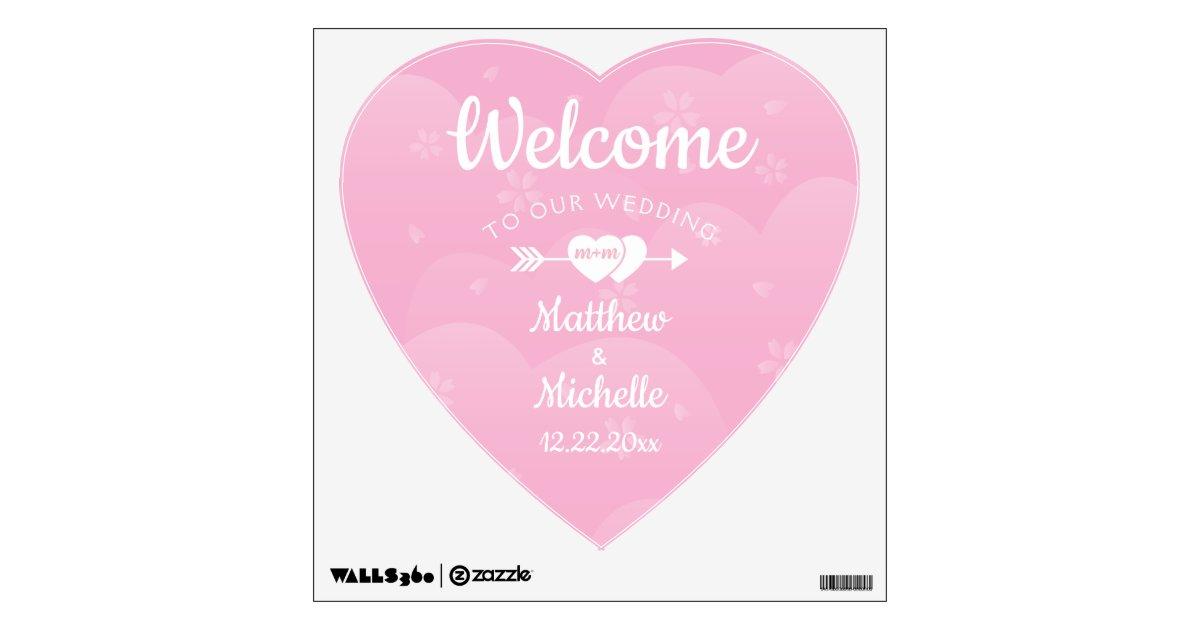 Two Hearts Pink Cherry Blossoms Wedding Decor Wall Sticker Zazzle