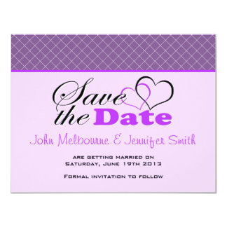 """Two Hearts Purple Fishnet Save the Date 4.25"""" X 5.5"""" Invitation Card"""