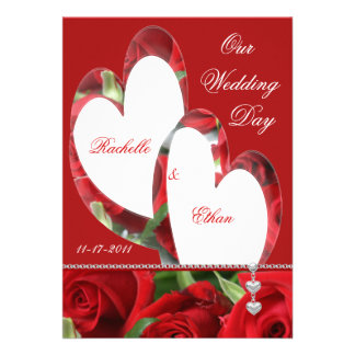Two Hearts Red Rose Wedding Invitations