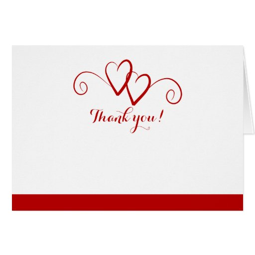 Two Hearts Red Swirl Wedding Thank you Note Card