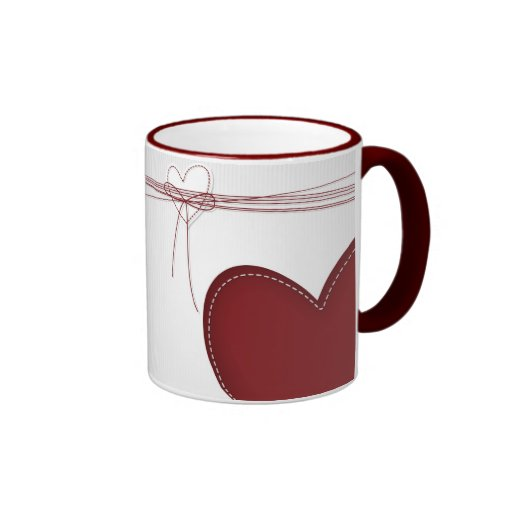 Two Hearts Ringer Coffee Mug