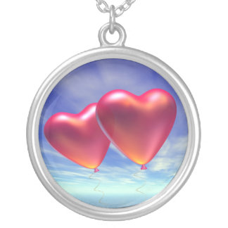 Two hearts round pendant necklace