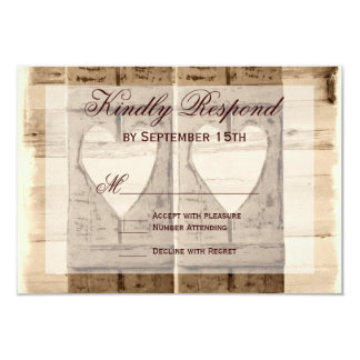 """Two Hearts Rustic Shutters Wedding RSVP Cards. 3.5"""" X 5"""" Invitation Card"""