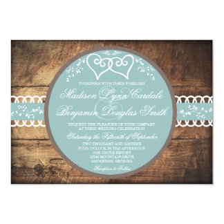 Two Hearts Rustic Wood Blue Wedding Invitations