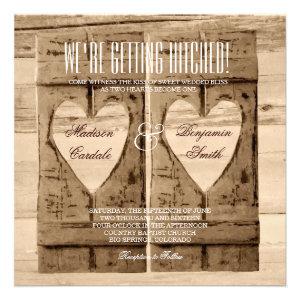Two Hearts Rustic Wood Shutters Wedding Invitation Custom Invitations
