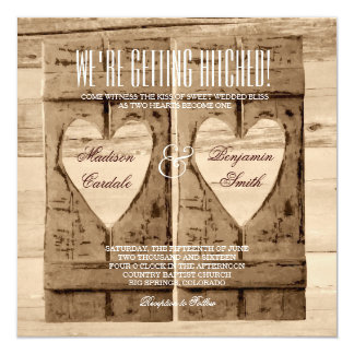 Two Hearts Rustic Wood Shutters Wedding Invitation