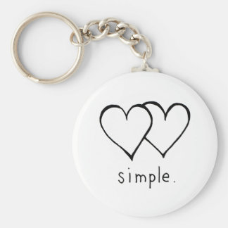 Two Hearts - Simple love - fresh line drawing art Keychain