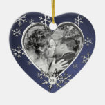 Two Hearts Snowflake Frame Christmas Tree Ornament