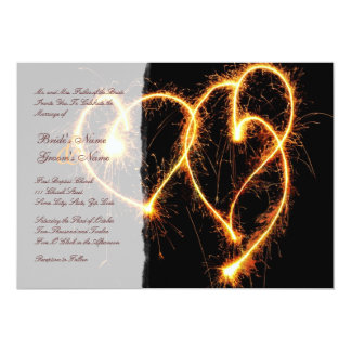 "Two Hearts Sparklers Wedding Invitation 5"" X 7"" Invitation Card"