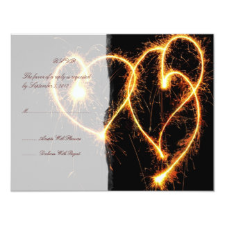 Two Hearts Sparklers Wedding RSVP 4.25x5.5 Paper Invitation Card