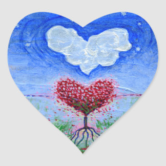 Two Hearts Surrealist Art Heart Sticker
