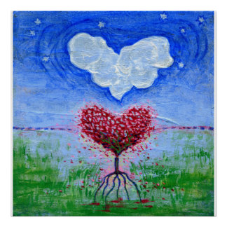 Two Hearts Surrealist Art Poster
