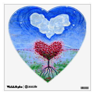 Two Hearts Surrealist Art Wall Decal