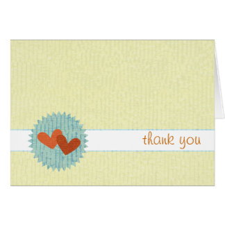 Two-Hearts Thank You Notecards Stationery Note Card