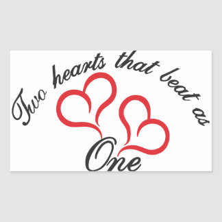 Two Hearts That Beat as One Rectangular Sticker