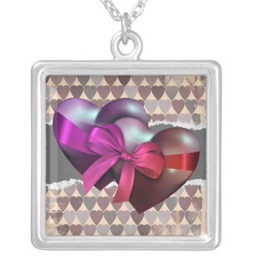 Two Hearts Tied By Ribbon Square Pendant Necklace