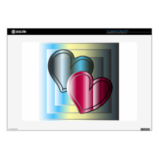 "two hearts together and bright colored 15"" laptop skin"