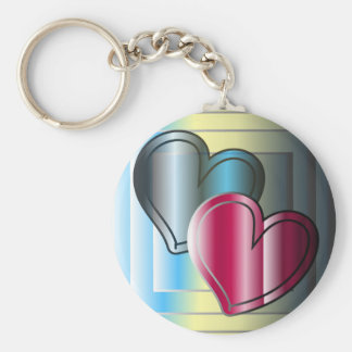 two hearts together and bright colored basic round button keychain