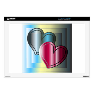 two hearts together and bright colored decal for laptop