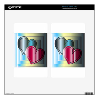 two hearts together and bright colored kindle fire decal