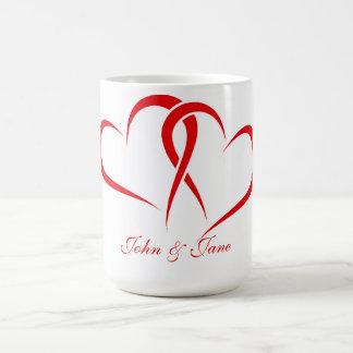 Two hearts together mug