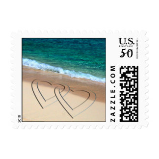Two Hearts Tropical Wedding Postage Stamp