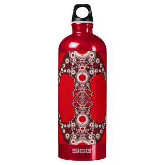 Two Hearts Valentine Fractal Aluminum Water Bottle