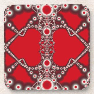 Two Hearts Valentine Fractal Beverage Coaster