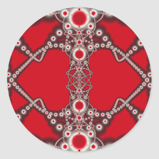 TWo Hearts Valentine Fractal Classic Round Sticker