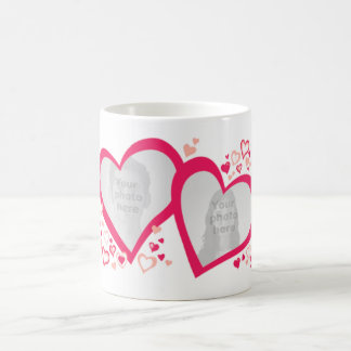 Two hearts valentine / wedding photos pink red mug