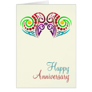 Two Hearts Wedding Anniversary Card at Zazzle