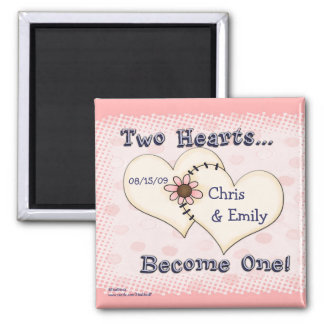 Two Hearts Wedding Congratulations, Chris      ... 2 Inch Square Magnet