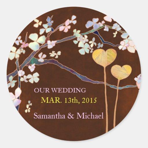 Two Hearts Wedding Invitation Sticker