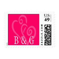 Two Hearts Wedding Monogram Postage Stamp