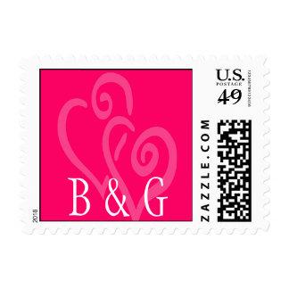 Two Hearts Wedding Monogram Postage Stamp