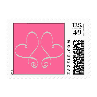 Two Hearts Wedding Postage Stamps Pink