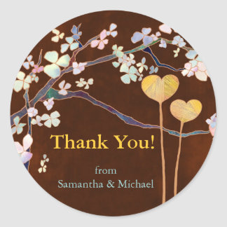 Two Hearts Wedding Thank You Sticker