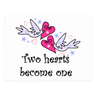 Two Hearts Wedding Tshirts and Gifts Postcard