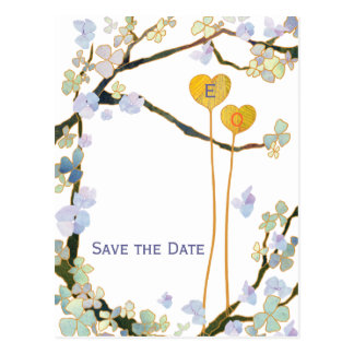 Two Hearts White Modern Save the Date Postcards
