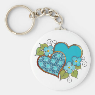Two hearts with blossoms aqua keychain