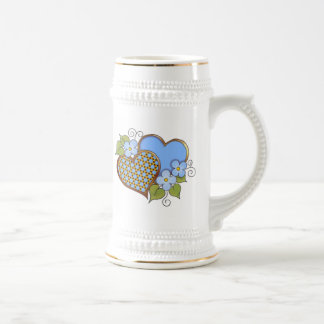 Two hearts with blossoms blue 18 oz beer stein