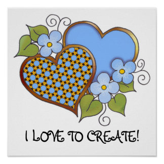 Two hearts with blossoms blue poster