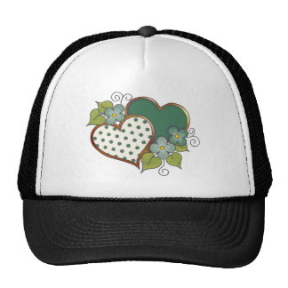 Two hearts with blossoms green dots trucker hat